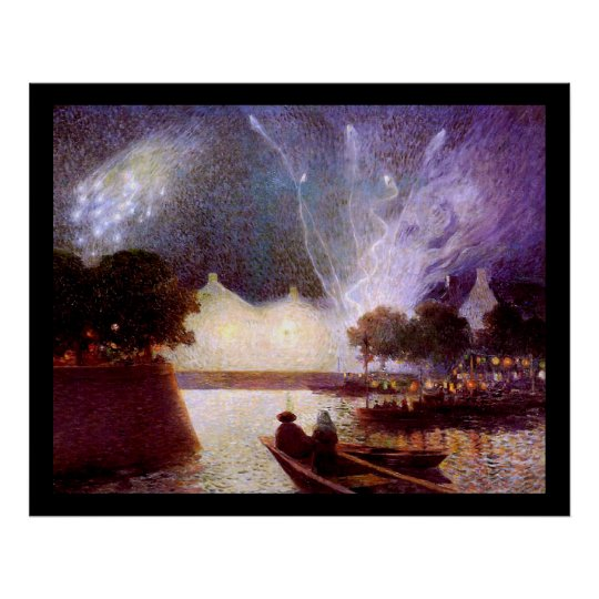 Du Puigaudeau: Fireworks over the Port Poster
