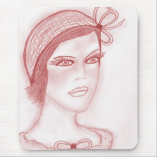 Dual Bow Flapper Girl in Cranberry Mousepads