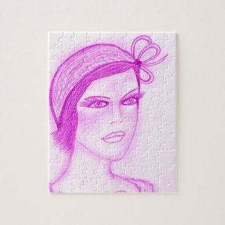 Dual Bow Flapper in Hot Pink Jigsaw Puzzle