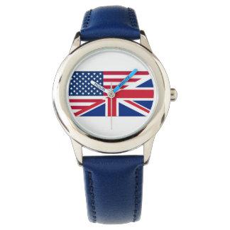 Dual Citizen American British Flag Kids Watch