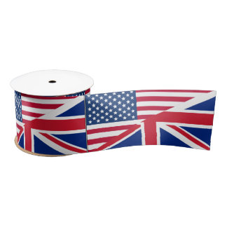 Dual Citizen American British Flag Ribbon Satin Ribbon