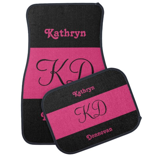 Dual Color custom name & monogram car floor