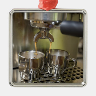 Dual espresso shots being brewed. christmas ornament