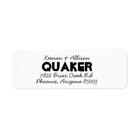 Dual font return address label