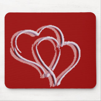 dual hearts mouse pad