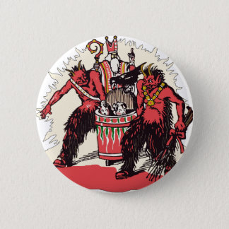 Dual Krampus and Old St. Nick 6 Cm Round Badge