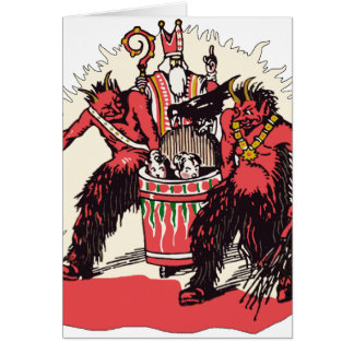 Dual Krampus and Old St. Nick Card