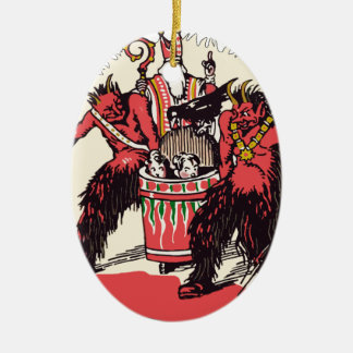 Dual Krampus and Old St. Nick Ceramic Oval Decoration