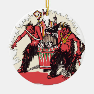 Dual Krampus and Old St. Nick Christmas Ornament