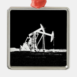Dual Oil Well Pumping Unit Silver-Colored Square Decoration