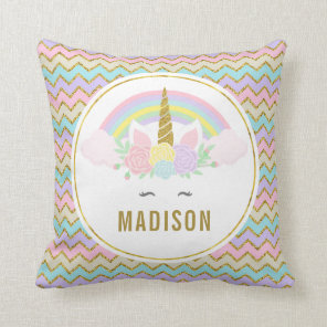 Dual Side Magical Rainbow and Unicorn Throw Pillow