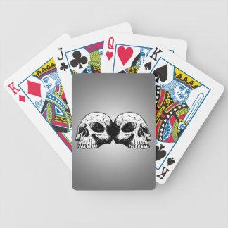 Dual Skeleton On Radial Grey Gradient Poker Cards