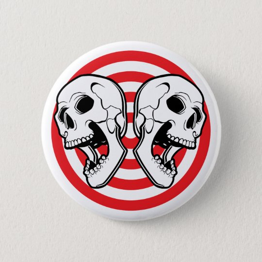 Dual Skull Target 6 Cm Round Badge