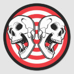 Dual Skull Target Classic Round Sticker