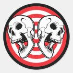 Dual Skull Target Classic Round Sticker