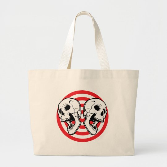 Dual Skull Target Large Tote Bag