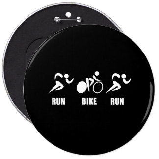 Duathlon Run Bike Run 6 Cm Round Badge