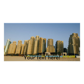 Dubai beach skyscrapers personalized photo card
