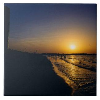 Dubai beach sunset large square tile