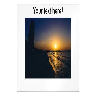 Dubai beach sunset magnetic invitations