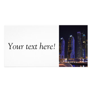Dubai Cayan Tower at night Personalized Photo Card