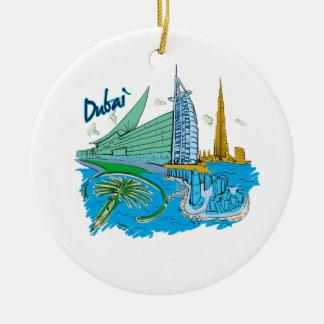 dubai city graphic travel design.png round ceramic decoration