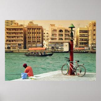 Dubai creek fisherman poster