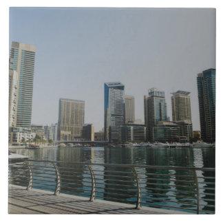 Dubai Marina skyscrapers Large Square Tile