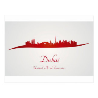 Dubai skyline in red.jpg postcard