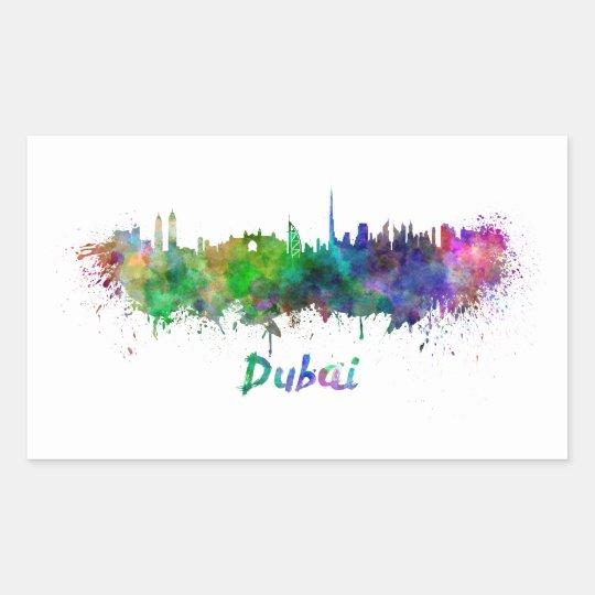 Dubai skyline in watercolor rectangular sticker