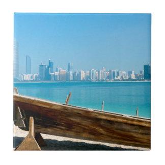 Dubai skyline small square tile