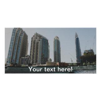 Dubai skyscrapers customized photo card