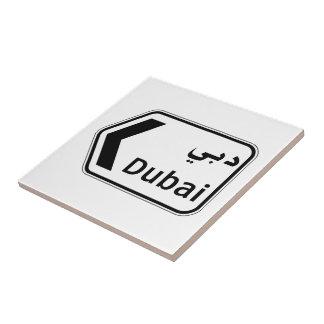 Dubai, Traffic Sign, United Arab Emirates Ceramic Tile