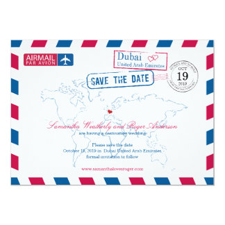 Dubai United Arab Emirates Airmail Save The Date 13 Cm X 18 Cm Invitation Card