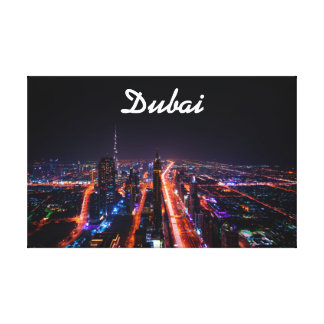 Dubai United Arab Emirates Night Time Cityscape Canvas Print