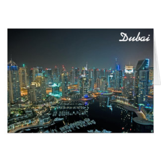 Dubai, United Arab Emirates skyline at night Greeting Card