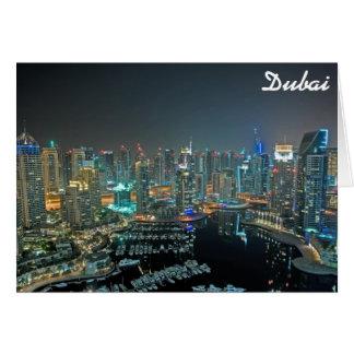Dubai, United Arab Emirates skyline at night Greeting Card