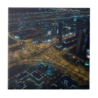 Dubai, United Arab Emirates skyline at night Small Square Tile