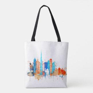 Dubai watercolor skyline tote bag