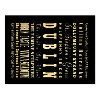Dublin City of Ireland Typography Art Postcard