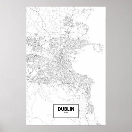 Dublin, Ireland (black on white) Poster