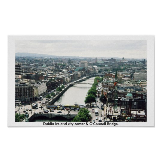 Dublin Ireland city centre skyline Poster