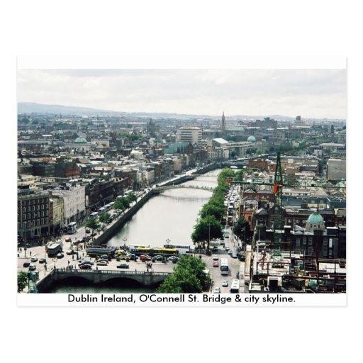 Dublin Ireland O'Connell Bridge & City skyline Post Card