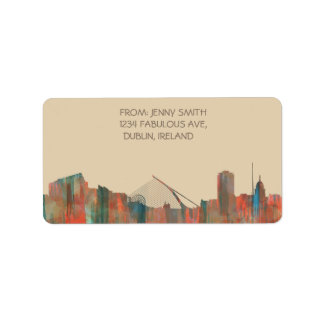 Dublin  Ireland Skyline-Navaho Address Label