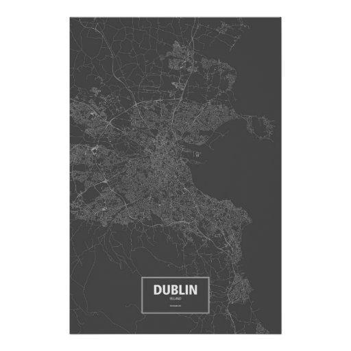 Dublin, Ireland (white on black) Poster
