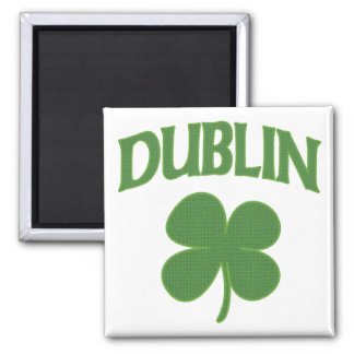 Dublin Irish Shamrock Square Magnet
