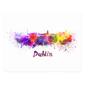 Dublin skyline in watercolor postcard