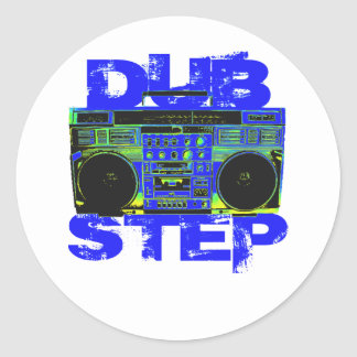 Dubstep Blue Boombox Classic Round Sticker