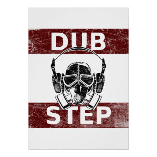 Dubstep gas mask & headphones poster