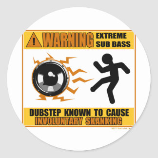 DUBSTEP Warning Extreme Bass Classic Round Sticker
